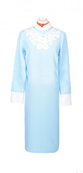 Платье женское с узорным воротничком голубой