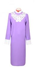 Платье женское с узорным воротничком сиреневый