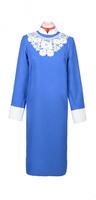 Платье женское с узорным воротничком синий