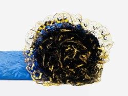 Обивка для гроба атласная верх термостежка и кружево синий