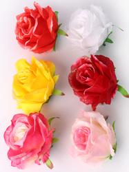Голова розы шелк с глиттером 6 сл. диам. 11 см