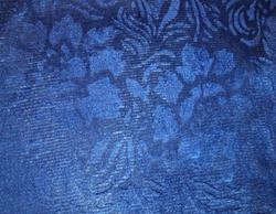 """Велюр с рисунком """"Роза"""" темно-синий"""