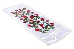 Покрывало атлас белый с накатом роза и кружевом