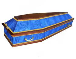 Гроб комбинированный шестигранник синий