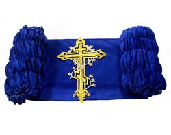 """Обивка для гроба бархат 200 г/м с термоаппликацией """"Крест с лозой"""" синий"""
