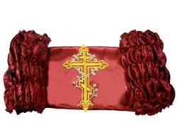 """Обивка для гроба атлас 120 г/м с термоаппликацией """"Крест с лозой"""" бордовый"""