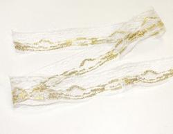 Кружево белое в золоте 6 см