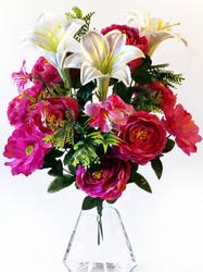 Букет пионов с лилиями и герберами 18 г. выс. 51 см