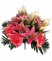 Букет с лилиями, розами, каллами и мелкоцветом 12 г. выс. 38 см