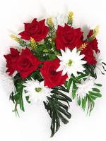 Букет бархатных роз с герберами 16 г. выс. 45 см