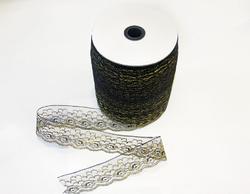 Кружево под польское 6,4 см черное с золотом