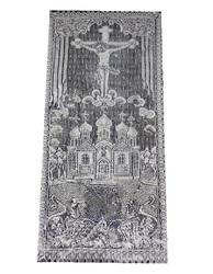 Покрывало тюлевое крест с храмом 80 Х 215 см