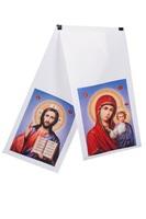 Рушник на крест голубой фон атлас печать 25*150 см