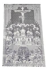 Покрывало тюлевое крест с храмом 110 Х 215 см