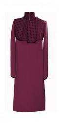 Платье женское габардин и черный гипюр бордовый