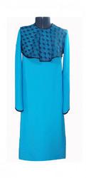 Платье женское габардин и черный гипюр голубой