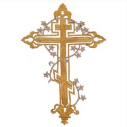 Термоаппликация крест с цветочной веткой 29*20см