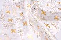 "Белый атлас с золотым накатом ""Крест"""